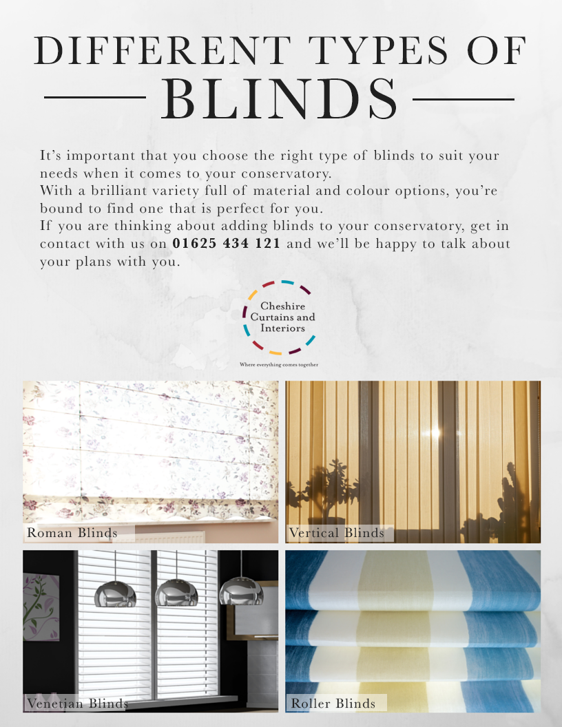 Choosing the right blinds for your conservatory cheshire Types of blinds